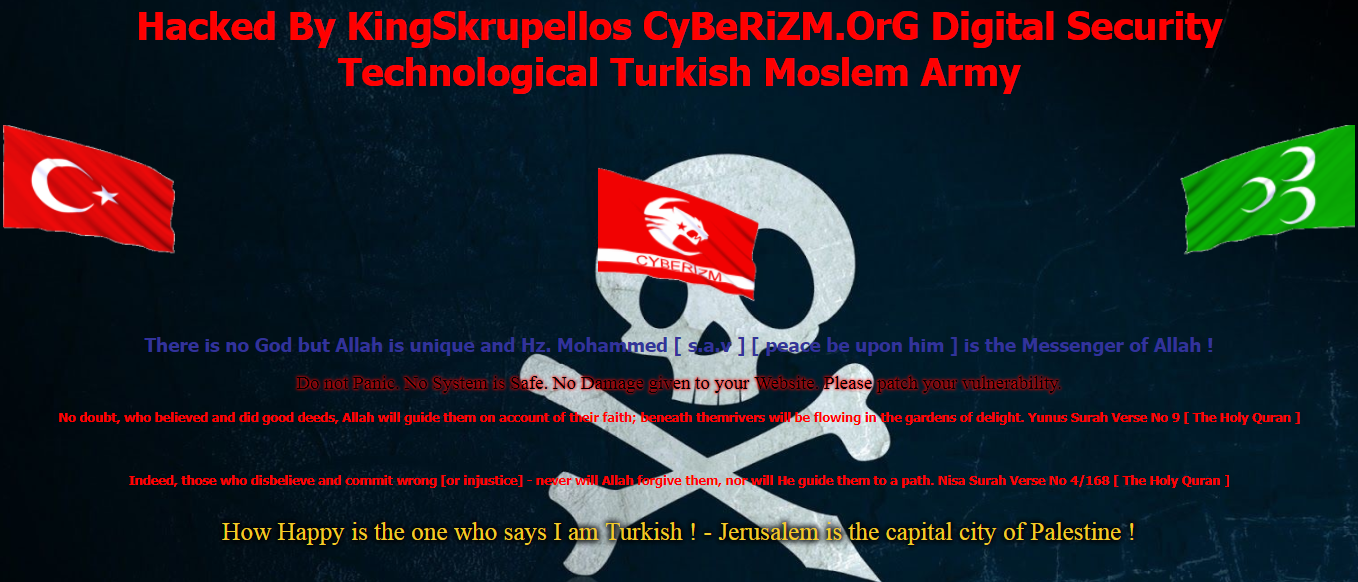 Hacked By KingSkrupellos CyBeRiZM.OrG Digital Security Technological Turkish Moslem Army